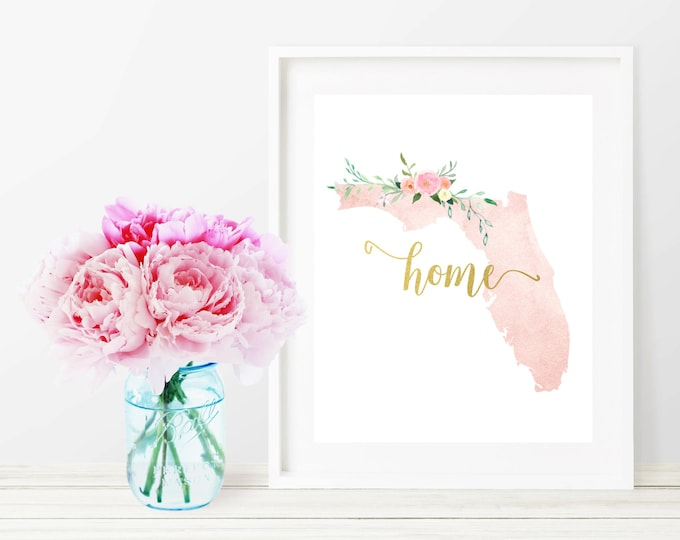 Florida State Silhouette Art Print, Pink Watercolor Map Printable Home Nursery Decor, Home Floral Wall Art, Gold 8x10 Art Print, Dorm Decor