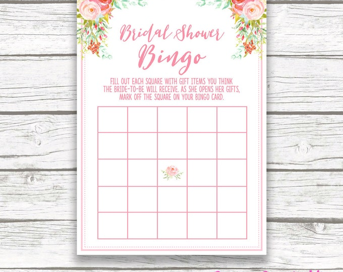 Pink Floral Bridal Shower Bingo Game Printable, Spring Mint Pink Flower Garden, Pink Rose Bridal Bingo, Bridal Shower Games Card