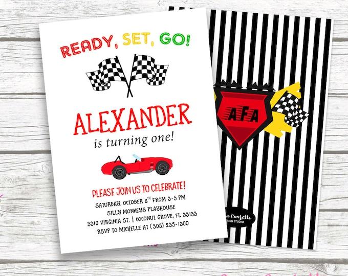 Race Car Birthday Invitation, Car Invitation, Racing Invitation, Birthday Invitation Boy, First 1st Birthday Invite Printable
