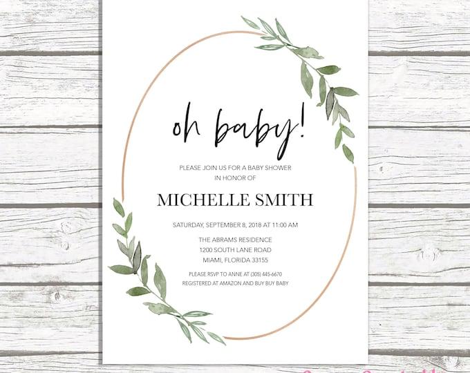 Leaf Baby Shower Invitation, Oh Baby Minimalist Baby Shower Invitation, Couples Shower, Rose Gold Baby Shower Invitation, Gender Neutral