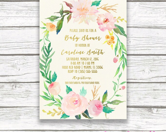 Boho Baby Shower Invitation Girl, Floral Baby Shower Invitation, Garden Invitation, Watercolor Baby Shower Invite, Floral Wreath Printable