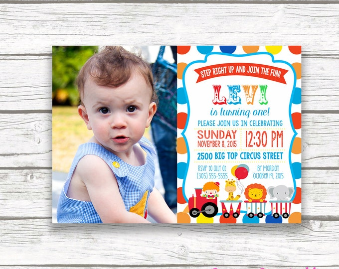 Circus Birthday Party Photo Invitation, Polka Dot Carnival Picture Invitation, First 1st Birthday, Printable Invitation, Matching Back