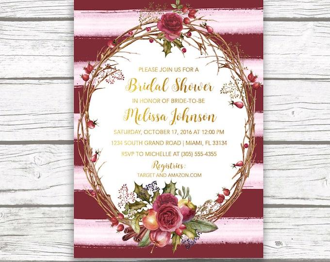 Marsala Bridal Shower Invitation, Burgundy Bridal Shower Invitation, Fall Bridal Shower Invitation, Rustic Bridal Shower Invite Printable