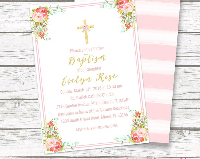 Floral Baptism Invitation Girl, Christening Invitation Girl, First Communion Invite, Pink and Gold Baptism Invitation, Printable Invite