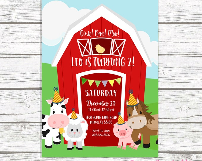 Farm Birthday Invitation, Farm Birthday Party Invitation, Barnyard Birthday Invitation, Barnyard Party, Farm Birthday Invite Printable