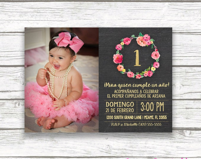 Spanish Chalkboard Gold Foil Pink First 1st Birthday Photo Invitation, Invitación Primer Cumpleaños, Girl Niña Printable Invitation