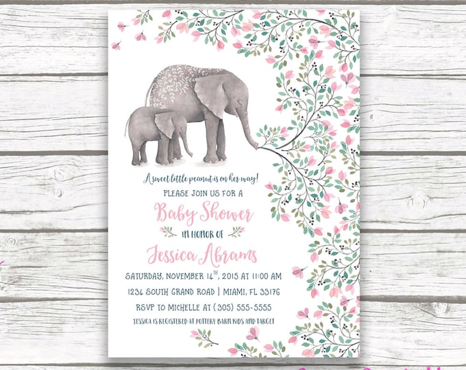 Pink Elephant Baby Shower Invitation, Boho Baby Shower Invitation, Girl Elephant Baby Shower, Little Peanut Printable Invitation