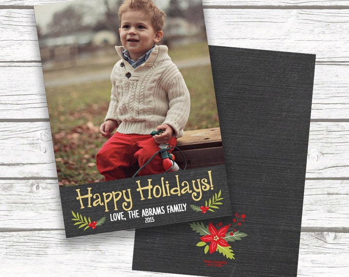 Chalkboard Photo Christmas Card, Gold Christmas Holiday Photo Card, Gold Foil Happy Holidays Card, One Picture, Personalized Card