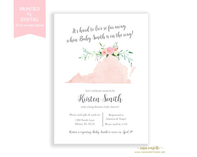 Long-Distance Baby Shower Invitation Virginia, Travel Theme Invite, Long Distance Shower By Mail, Map Baby Shower, State Baby Shower