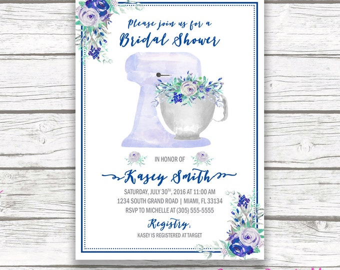 Kitchen Bridal Shower Invitation, Blue Bridal Shower Invitation, Navy Blue and Gray, Floral Stand Mixer Invitation, Printable Invitation