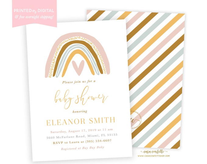 Muted Rainbow Baby Shower Invitation, Boho Rainbow Baby Shower Invite, Neutral Earth Tone Rainbow Baby Shower, Gender Neutral Printable