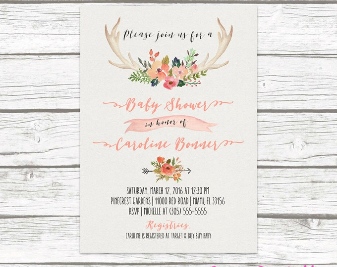 Antler Boho Baby Shower Invitation, Tribal Watercolor Floral Baby Girl Invite, Pink Aztec Western Southwestern Bohemian, Printed Printable