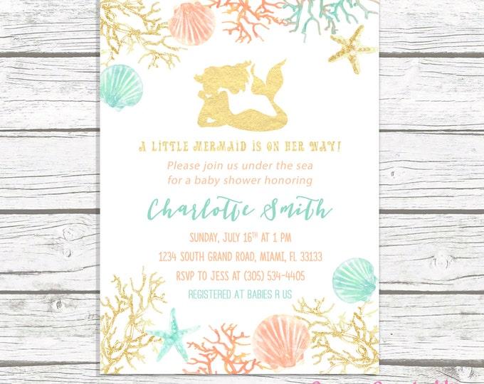 Mermaid Baby Shower Invitation, Under the Sea Baby Shower Invitation, Mermaid Theme Baby Shower Invite Girl, Gold Mermaid Printable