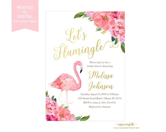 Let's Flamingle Bridal Shower, Flamingo Bridal Shower Invitation, Peony Invitation, Tropical Bridal Shower Invite, Pink Floral