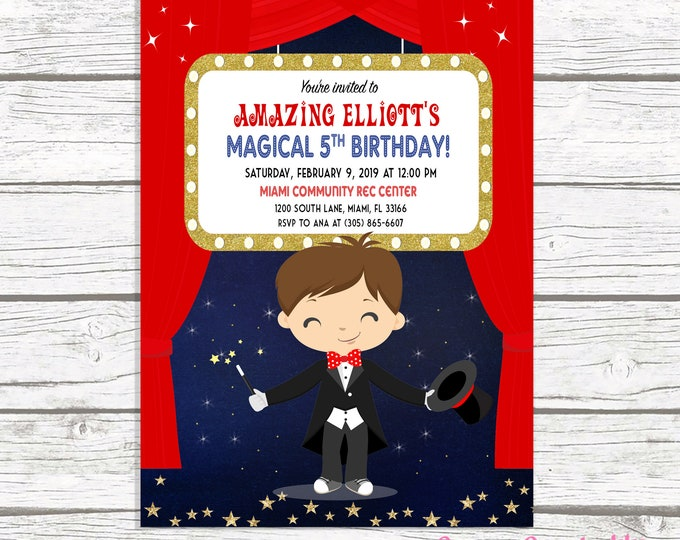 Boy Magician Invitation, Magician Birthday Invitation, Magic Show Party, Magic Show Birthday, Magician Party