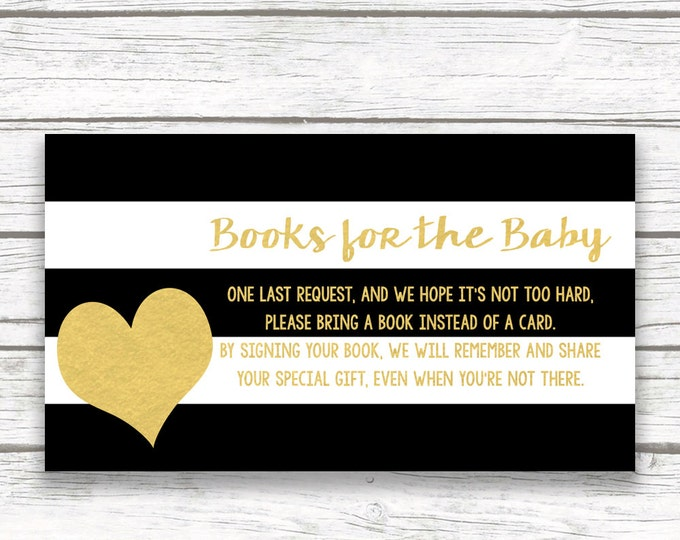 Bring a Book Instead of a Card Baby Shower Invitation Insert, Black White Stripe Striped Gold Foil Heart, Printable Stock Baby's Library