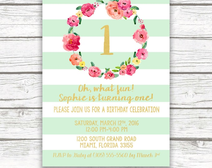 Mint Green Striped Gold Foil First Birthday Invitation, Girl One 1st Birthday Pink Green Pastel Floral Wreath, Printed Printable Invite