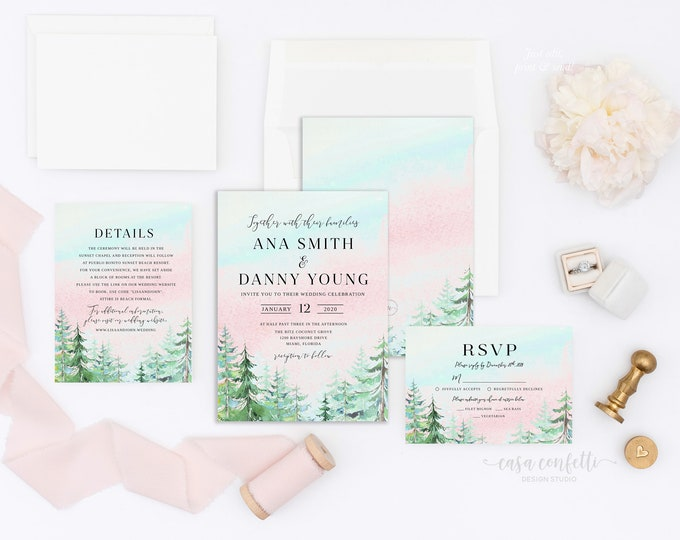 Rustic Mountain Sunset Invitation, Forest Wedding Invitation Suite, Conifer Wedding Invitation, Adventure Rustic Wedding Invitation
