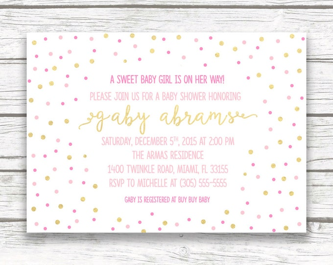 Pink and Gold Confetti Baby Shower Invitation, Sparkle Gold Foil Pink Confetti Baby Girl Baby Shower, Printed or Printable Invite