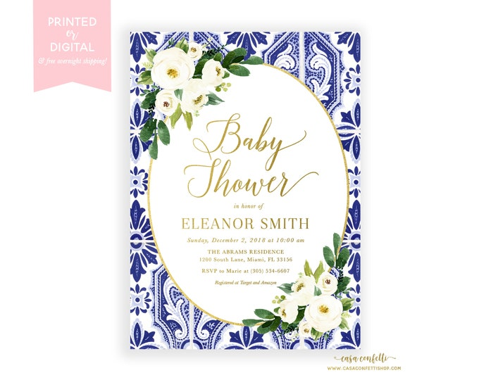 Blue and White Baby Shower, Chinoiserie Baby Shower Invitation, Ginger Jar White Floral Baby Shower Invite, Blue Tile Baby Shower