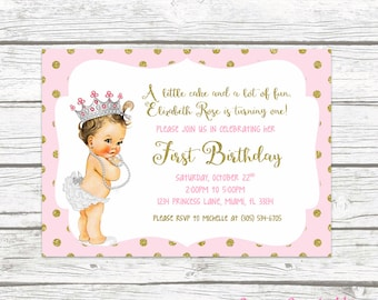 1st birthday invitations etsy pink and gold glitter princess first birthday party invitation 1st birthday invitation vintage doll baby printed or printable filmwisefo