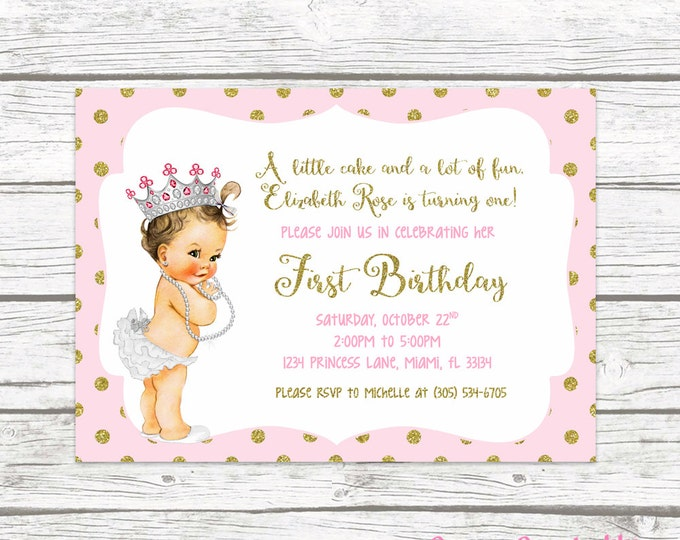 Pink and Gold Glitter Princess First Birthday Party Invitation, 1st Birthday Invitation, Vintage Doll Baby, Printed or Printable