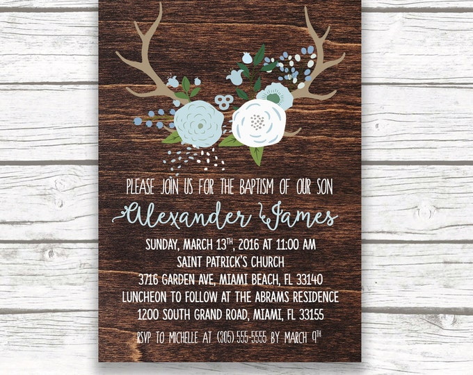 Baby Boy Baptism Christening Invitation, Dark Wood Antler Boho Invite, Blue and White Boy First Communion, Printed or Printable Invitation