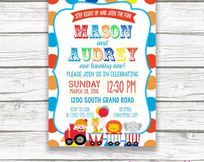 Twin Circus Birthday Party Invitation, Boy Girl Twins, Polka Dot Carnival Birthday Invitation, First 1st Birthday, Printable Invitation