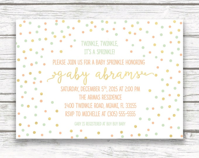 Baby Sprinkle Invitation, Confetti Gender Neutral  Twinkle Twinkle Boy Girl Shower, Gold Mint Peach Dot Confetti, Printed Printable Invite