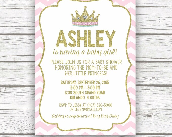 Pink and Gold Glitter Princess Baby Shower Invitation, Pink Chevron Princess, Girl Crown Tiara Invite, Printed or Printable Invitation