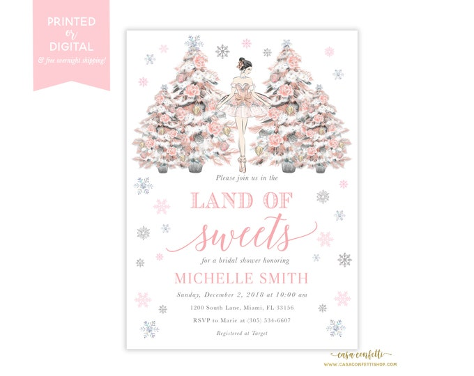 Nutcracker Bridal Shower Invitation Girl, Nutcracker Ballet Invitation, Winter Bridal Shower, Land of Sweets Sugar Plum, Christmas