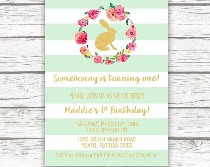 Bunny Birthday Invitation, Easter Birthday Invitation, Somebunny is Turning One Invite, First 1st Birthday Invitation Girl, Printable