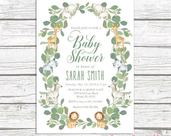 Safari Baby Shower Invitation, Watercolor Animal Invitation, Gender Neutral Baby Shower, Jungle Baby Shower Invite, Leaf Baby Shower