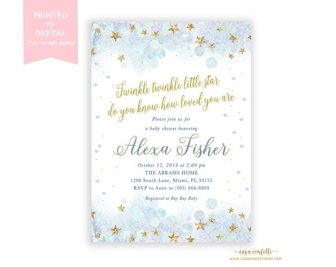 Twinkle Twinkle Little Star Baby Shower Invitation, Baby Boy Shower Invitation, Blue and Gold Twinkle Twinkle Invite