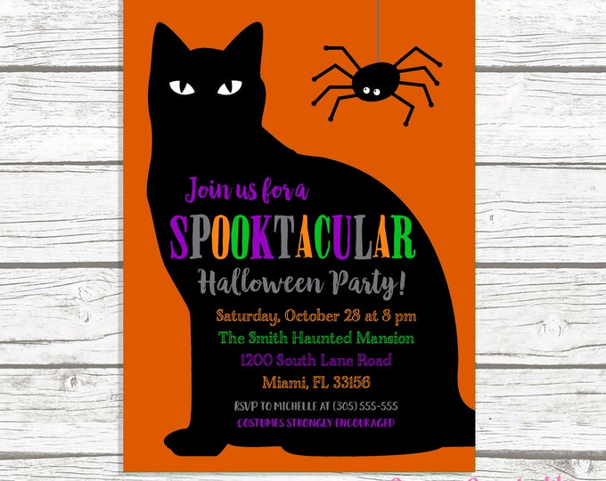 Black Cat Halloween Party Invitation, Halloween Costume Party Invitation, Costume Party Invite, Black Cat Invitation, Kids Halloween Invite