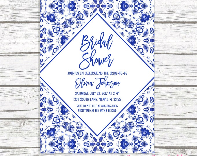 Blue Bridal Shower Invitation,  Bridal Shower Brunch Invitation, Blue and White Bridal Shower Invitation, Chinoiserie Bridal Shower Invite