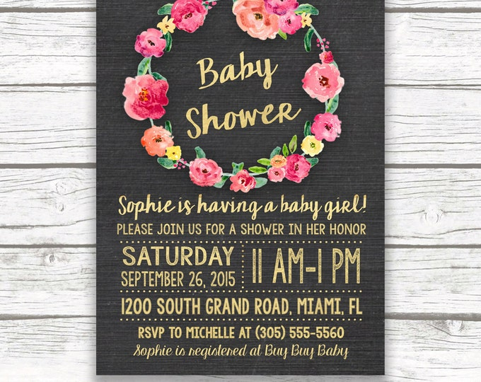 Baby Shower Invitation Girl, Chalkboard Baby Shower Invitation, Pink and Gold Baby Shower Invitation, Floral Wreath Invitation, Printable