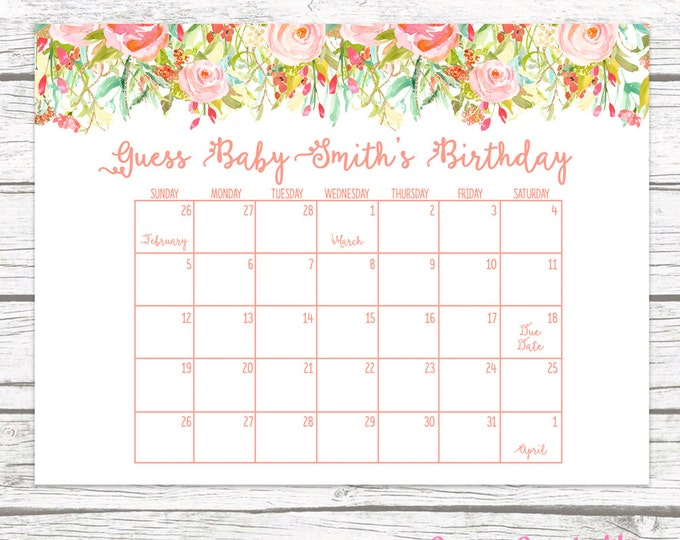 Due Date Calendar, Guess Baby's Due Date, Baby Shower Game, Guess Baby's Birthday, Birthday Predictor, Boho Floral Baby Shower, Printable