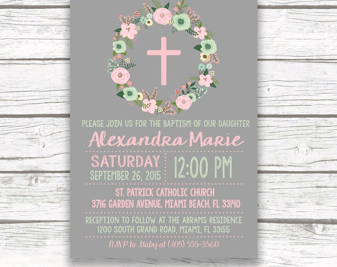 Christening Invitation Girl, Baptism Invitation Girl, First Communion Invitation, Pink and Mint Boho Baptism Invite, Floral Cross Printable