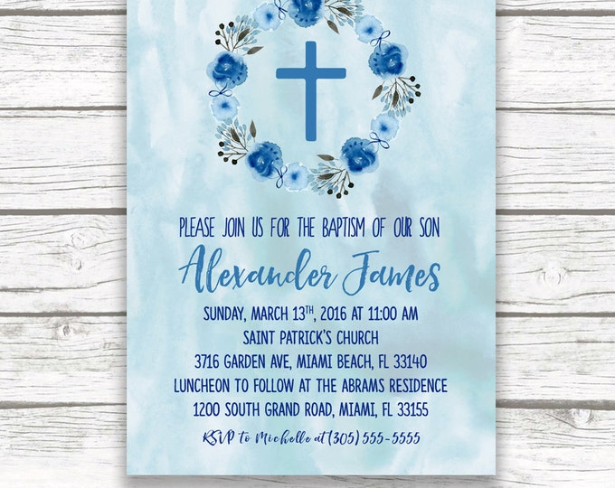 Baptism Invitation Boy, Blue Christening Invitation, First Communion Invitation Boy, Watercolor Baptism Invite, Printable