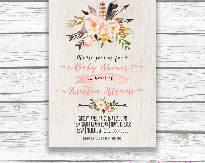 Boho Floral Baby Shower Invitation, Peach Pink Feather Arrow Tribal Watercolor Flower Invite, Wood Aztec Southwestern Bohemian, Printable