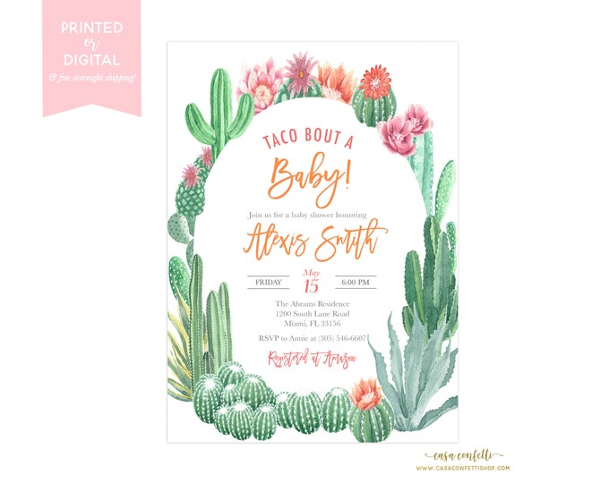 Taco Bout a Baby Cactus Baby Shower Invitation, Fiesta Baby Shower Invitation, Southwestern Baby Shower, Cinco de Mayo Succulent Invite