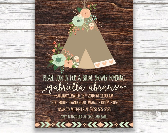 Teepee Boho Bridal Shower Invitation, Floral Mint and Peach, Wood Rustic Southwestern Boho, Printed or Printable Invitation