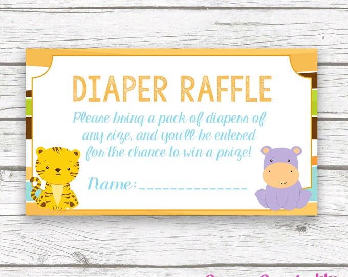 Safari Diaper Raffle Ticket, Safari Printable Invitation Insert, Jungle Animal Baby Shower Diaper Raffle, Baby Boy Shower