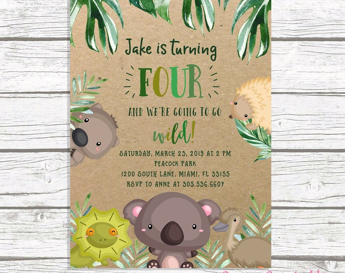 Wild Animal Birthday Invitation, Safari Birthday Invitation, Zoo Birthday Invitation, Leaf Koala Invitation, Australian Wildlife Show
