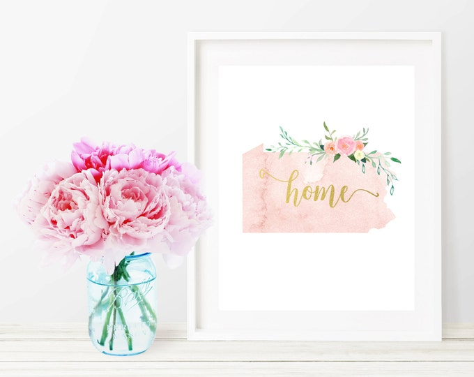 Pennsylvania State Silhouette Art Print, Pink Watercolor Map Printable Home Nursery Decor, Floral Wall Art, Gold 8x10 Art Print, Dorm Decor