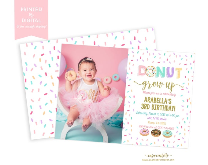 Donut Grow Up Photo Invitation, Donut Party Photo Invitation, Doughnut Birthday Invitation, First 1st Birthday Invite Girl