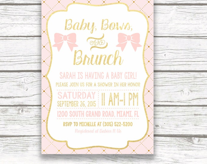 Baby Shower Brunch Invitation, Baby Bows and Brunch Invitation, Pink and Gold Baby Shower Invitation, Bow Baby Shower Invite Girl