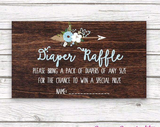 Baby Blue Boy Dark Wood Rustic Antler Boho Baby Shower Diaper Raffle Ticket, Blue Baby Boy Shower, Diaper Raffle Ticket Invitation Insert