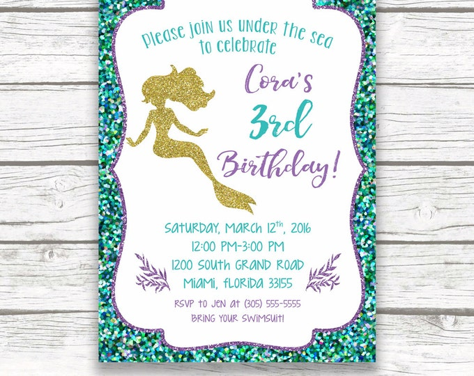Mermaid Birthday Invitation, Mermaid Invitation, Under the Sea Invitation, Mermaid Theme, Purple Mermaid Invitation, Printable Invite